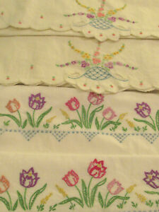Vintage Embroidered Pillowcases 2 Sets Tulips & Trailing Blooms White Cotton