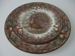 Royal Stafford Brown Multi Color Turkey Dinner Plate & Accent/Dessert Plate New