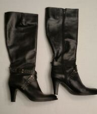 VIA SPIGA Leather Heeled Black Knee High BOOTS Women's Size 10 M