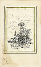 DESSIN ORIGINAL CHARLES DUBOURG (1842-1920) PLUME ET LAVIS L.A.S. au verso