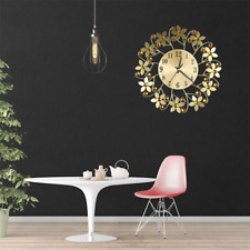 Hot Sales Round Rhinestone Flower Wall Clock Living Room Home Restaurant Hanging