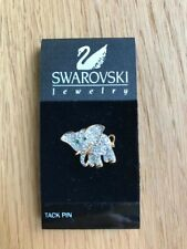 Swarovski Signed Elephant Tac Pin Clear/Green Crystal Accents Never Used!