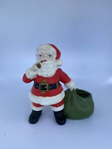 vintage Santa w/ pipe and sack candy holder planter figurine Holland Mold