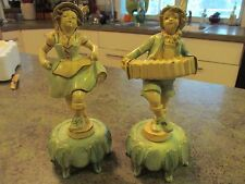 """Vintage DAV ART NY Metal Cold Painted Dancing Male Female Concertina Pair 8"""""""