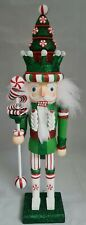 "Christmas Tree Soldier Nutcracker Green White 18"" Wood Kurt Adler Hollywood"