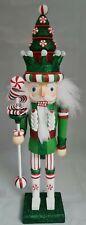 "Christmas Tree Soldier Nutcracker Green White 18"" Wood Kurt Adler Hollywood"
