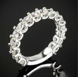 1.60Ct White Round Pave Set Diamond Wedding Band Ring Solid 925 Sterling Silver