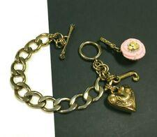 "JUICY COUTURE Bracelet Gold Logo ""J"" Charm Cupcake Heart Charm Orginal Box DD51i"