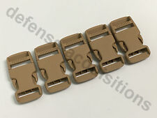 SET OF 5 Side Release Side Squeeze Single Adjust Buckle 1 INCH - SAND