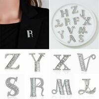 Fashion Letter Rhinestone Brooch Pins Women Lapel Suit Collar Party Jewelry Gift