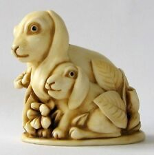MPS Harmony Kingdom - QTs - Small Rabbit & Bunny Figurine - Inspired by Netsuke