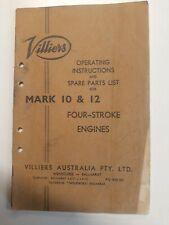 Original Villiers Mark 10 12 4 stroke Engine Instruction Book, Spare Parts