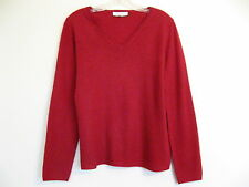 ANN TAYLOR Cashmere Sweater Classic V neck Pullover Ruby Red L