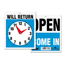 Headline Sign Double-Sided Open/Will Return Sign w/Clock Hands Plastic 7 1/2 x 9