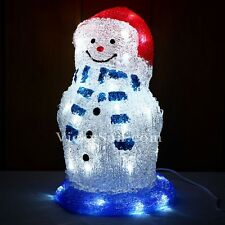 33CM 3D Acrylic Snowman with Red Hat and 40 White LED Christmas Lights
