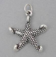 STAR FISH Starfish Solid Sterling Silver Charm Pendant Nautical Ocean Beach 2713