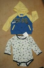 Baby Kidzone Outfit -Football Hooded Jacket & Football 1 Pc. Bodysuit-3-6 Mo-Nwt