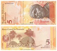 Venezuela 5 Bolivares 2011 P-89d Banknotes UNC