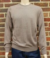 Men`s Crew Neck Jumper Cotton Blend Size Large Brown Ex-M&S Pullover