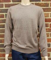 Men`s Crew Neck Jumper Cotton Blend Size Medium Brown Ex-M&S Pullover