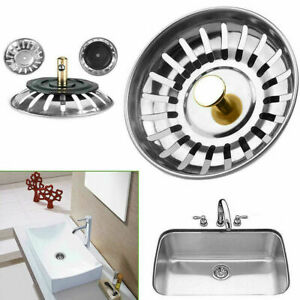 Premium Kitchen Sink Replacement Drain Waste Plug Basin Stainer Basket Filter UK