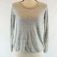 Joie Top Womens Size Small Gray Long Sleeve Linen Knit Silk Pullover Imperfect