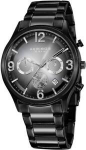 Akribos XXIV AK607BLK Chronograph GMT Date Black to White Dial Mens Watch