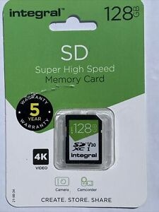 New Integral SD Super High Speed Memory Card 128GB Up To 100MB/S Brand-New