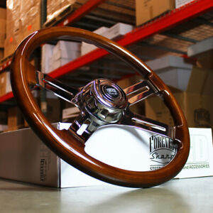 "18"" Wood Steering Wheel Chrome 4 Spoke Freightliner, Kenworth, Peterbilt, Volvo"
