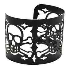 Retro Cool Metal Big Wide Punk Style Cuff Bangle Skull Bracelet Hollow Jewelry
