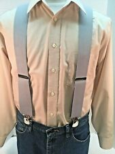 """New, Men's Light Gray, Large, 2"""", Adj. Twin Pin Clip Suspenders, Made in the USA"""