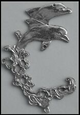 PEWTER CHARM #318 DOLPHINS / WAVE 80mm x 50mm double sided joiner for suncatcher