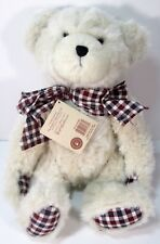 BOYDS  BEAR PLUSH IVORY COLOR  JOINTED WITH CHECK PAWS HEAD BEAN COLLECTION