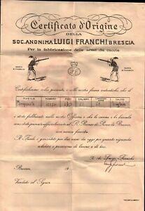 CERTIFICATO D'ORIGINE - FUCILE IMPERIALE LUIGI FRANCHI BRESCIA - ANNI 30