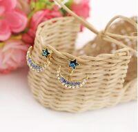 Fashion Women's Moon And Star Shape Crystal Rhinestone Gold Plated Stud Earrings
