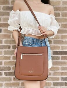 Kate Spade Leila Large Top Zip Crossbody Warm Gingerbread Brown Leather