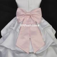 PINK SATIN TIE BOW SASH FOR WEDDING FLOWER GIRL DRESS sz. S M L 2 4 6 8 10 12 14