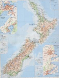 1958 LARGE MAP NEW ZEALAND CHRISTCHURCH CHATHAM WELLINGTON AUCKLAND KERMADEC