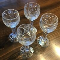 Country Rose Hand Cut Crystal Liqueur or Cordial glasses SET 4 Vintage Stunning!