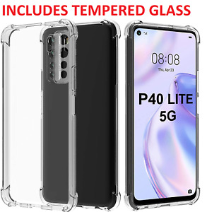 For Huawei P40 Lite 5G Clear Case Slim Gel Cover & Glass Screen Protector