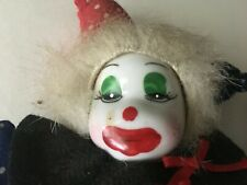 "VTG Halloween Clown Ceramic Porcelain Head/Limbs w/Cloth Body 7""Collectibles"
