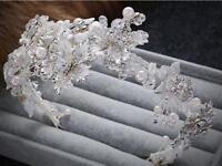 Blossom Wedding Hairband Crystal Bridal Dress Accessories Pearls Vine Headband