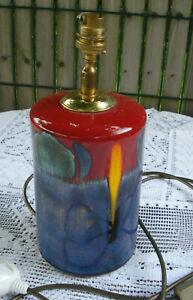 pied de lampe en céramique vintage POOLE couleur rougen bleu, vert jaune