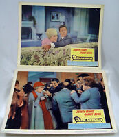 """VINTAGE LOBBY CARDS Jerry Lewis Janet Leigh 3 on a Couch 1966 11x14"""" original"""