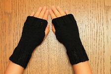 Hand Knit Fingerless Gloves- Wrist Warmers-Texting Gloves-Black