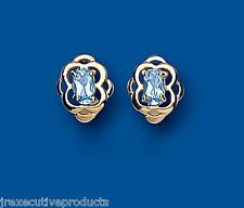 Topazio Blu Orecchini Grande Borchie Oro Giallo Azzurro