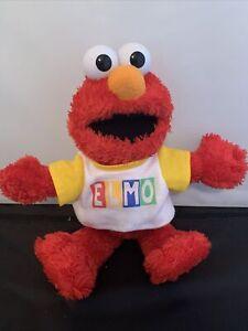"Elmo Knows Your Name Sesame Street Yellow Shirt  14"" Rare"