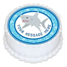 ND3 Shark birthday personalised round cake topper edible icing