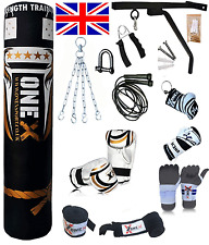 15 Piece Boxing Set 5ft Filled Heavy Punch Bag Gloves,Chains,Bracket,Kick new