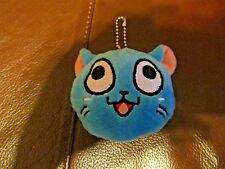 Adorable Plush Fairy Tail Blue Anime Happy Cat Keychain  (NEW)